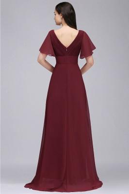COLETTE | A-Linie bodenlanges Chiffon Burgund Prom Kleid mit weichen Falten_8