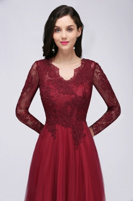 DYLAN | A-line V-neck Long Sleeves Lace Tulle Backless Prom Dresses_11