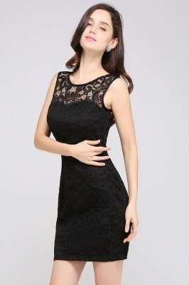 ARYA | Sheath Scoop Black Lace Homecoming Dresses_3