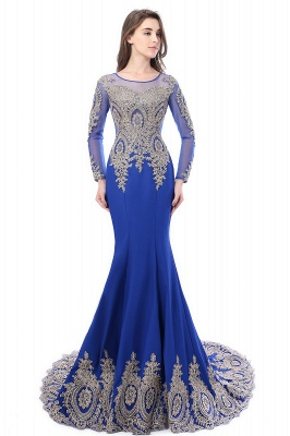 Crystal   Sexy Mermaid Lace Appliques Long Sleeves Prom Dresses with Beadings_6