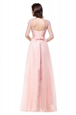 ELLIANA | A-line Short Sleeve Chiffon Bridesmaid Dresses with Ribbon Bow Sash_8