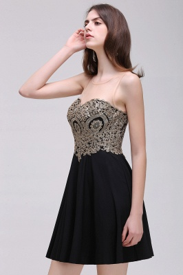 CAITLIN | A-line Short Chiffon Black Homecoming Dresses with Appliques_10