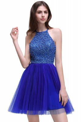 CAITLYN | A-line Halter Neck Short Tulle Royal Blue Homecoming Dresses с бисером_1