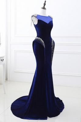 CHARLIE   Mermaid Velvet Navy Blue Royal Prom Dress with crystals_4