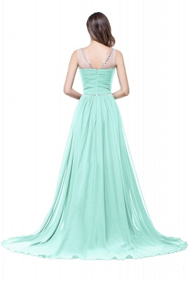 AIMEE | A-line Court Train Chiffon Party Dress With  Beading_11