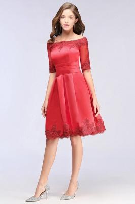 ELSIE | A-line Off-shoulder Half Sleeves Short Lace Appliques Prom Dresses_9