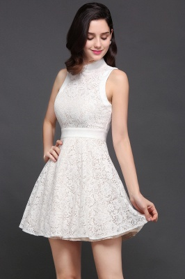CHLOE | Princess High neck Knee-length White Cute Homecoming Dress_1