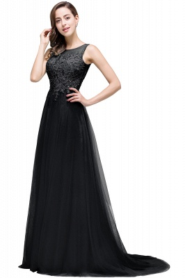 ABRIL   A-line Court Train Tulle Evening Dress with Appliques_6