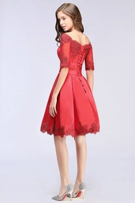 Chic manches mi-longues Lace-up Off-épaule dentelle Appliques Courtes Robes de bal_7