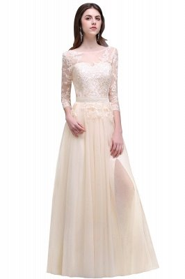 AUBREY | A-line Scoop Champagne Prom Dress With Sleeve_5