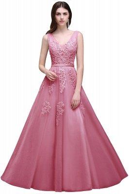 V-Ausschnitt A-Linie Bodenlanges Tüll Brautjungfernkleid | Brautjungfer Kleid Mit Applikationen_4