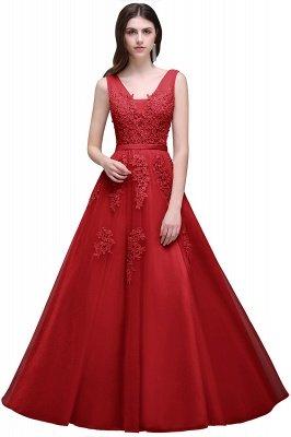 V-Ausschnitt A-Linie Bodenlanges Tüll Brautjungfernkleid | Brautjungfer Kleid Mit Applikationen_5