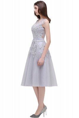 ЭМИРА | A-Line Crew Tea Length Кружева Appliques Короткие платья выпускного вечера_18