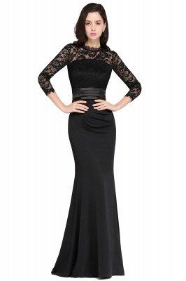 ARIANNA   Sheath High Neck Black Elegant Evening Dresses with Lace_5