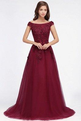 EMBER | A-line Off-shoulder Floor-length Tulle Appliques Prom Dresses_6