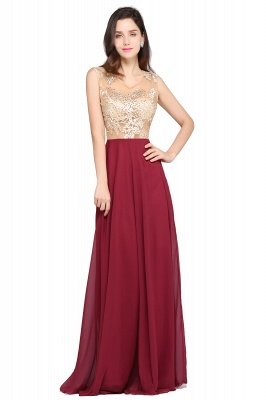 Sleeveless Burgundy Chiffon Beads Appliques Sexy Cheap Evening Dress