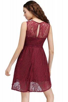 BRIELLE | A-ligne col rond dentelle courte robes de bal Bourgogne_2
