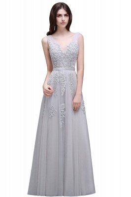 V-Ausschnitt A-Linie Bodenlanges Tüll Brautjungfernkleid | Brautjungfer Kleid Mit Applikationen_9