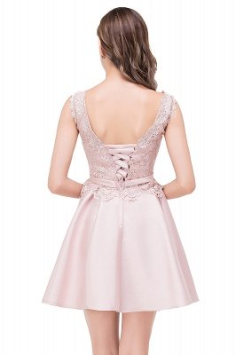 ADELAIDE | A-line Knee-length Satin Homecoming Dress with Lace_7