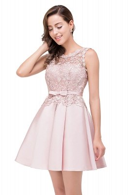 ADELAIDE | A-line Knee-length Satin Homecoming Dress with Lace_10