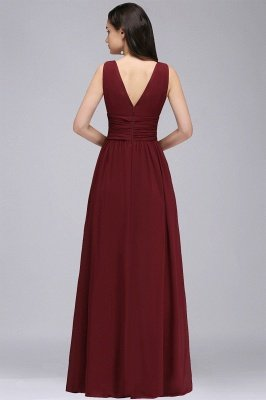 COLLINS | V-Neck A-line Floor-length Burgundy Chiffon Evening Dresses_7