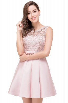 ADELAIDE | A-line Knee-length Satin Homecoming Dress with Lace_9
