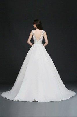 Ivory dos nu en mousseline de soie chapelle-train dentelle robe de bal robes de mariée_4
