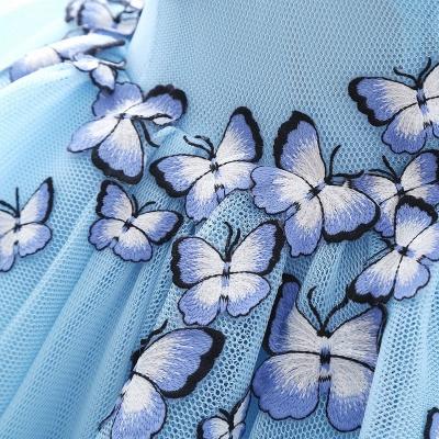 БРЭННА | Принцесса V Шея Часовня Поезд Шифон Sky Blue Пром платья с Butterfly Applique_6
