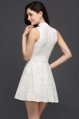 CHLOE | Princesse col haut au genou blanc mignon robe de retour_4