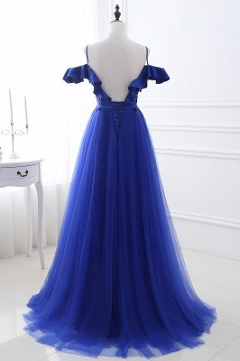 Stunning Off the shoulder blue Tulle ball gown prom dresses_3