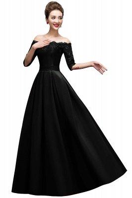 A-Linie halbe Ärmel Off-Schulter Lace-up Appliques Abendkleider_4