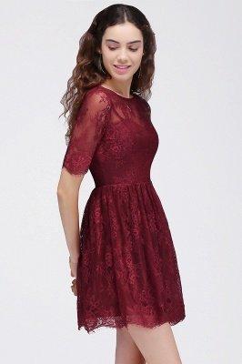 BRITTANY | A linha de vestidos de baile em volta do pescoço curto Lace Borgonha_4