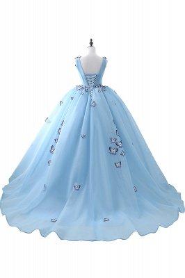 БРЭННА | Принцесса V Шея Часовня Поезд Шифон Sky Blue Пром платья с Butterfly Applique_3