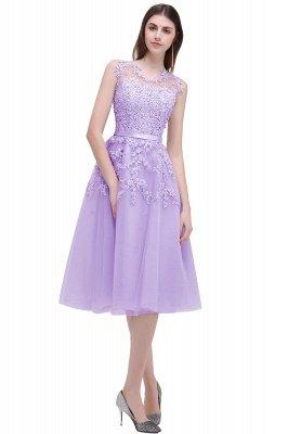 ЭМИРА | A-Line Crew Tea Length Кружева Appliques Короткие платья выпускного вечера_6