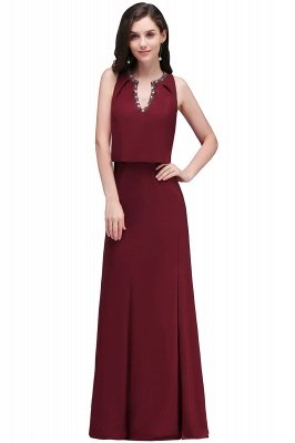 EDITH | A-line V-neck Floor-length Sleeveless Burgundy Prom Dresses with Crystal_2
