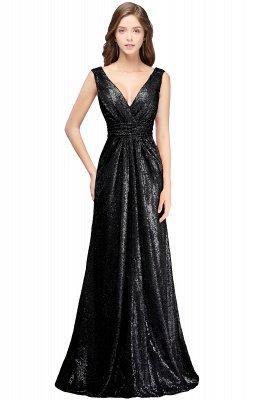 Elegante A-Linie Open Back Pailletten Sleeveless V-Ausschnitt Abendkleider_1