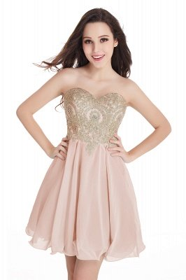 CYNTHIA | A-Line Strapless Short Chiffon Prom Dresses with Beadings_2