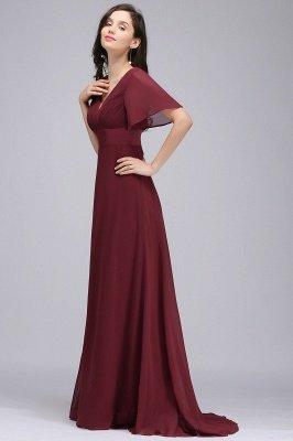 COLETTE | A-Linie bodenlanges Chiffon Burgund Prom Kleid mit weichen Falten_10