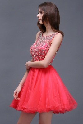 BIANCA   Puffy Straps Short Tulle Homecoming Dresses With Crystal_4