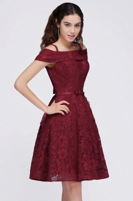 BRISTOL | A-Line Spaghetti Straps Short Lace Burgundy Homecoming Dresses_6