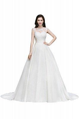 Ivory dos nu en mousseline de soie chapelle-train dentelle robe de bal robes de mariée_1