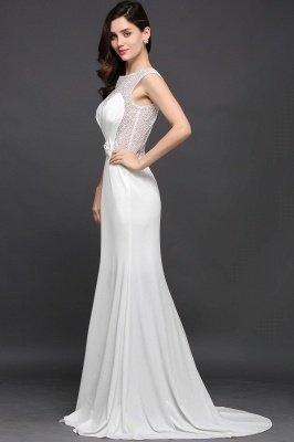 AYLEEN | Mermaid Scoop White Chiffon Evening Dress With Beadings_4