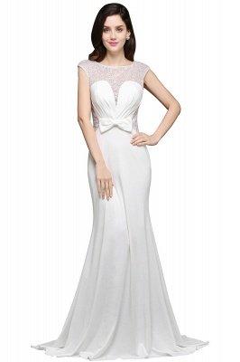 AYLEEN | Mermaid Scoop White Chiffon Evening Dress With Beadings_1