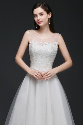 BAILEE | A-line Scoop Tulle Elegant Wedding Dress With Lace_5