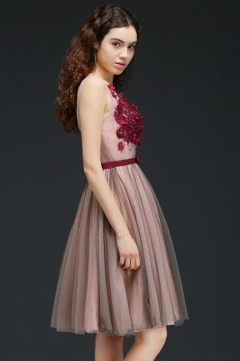 CORALINE |Princess V-neck Knee-length Tulle Homecoming Dress with a Self-tie Belt_7