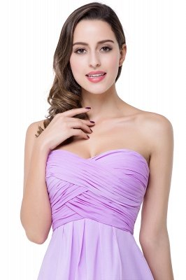 ADLEY | A-line Strapless Chiffon Bridesmaid Dress with Draped_9