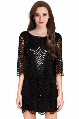 AIYANA | Sheath Scoop Short Sequins Cocktail Dresses With Long Sleeves_2