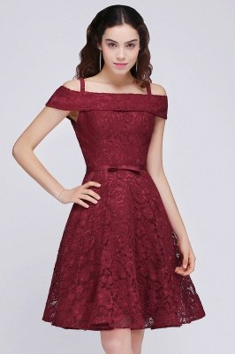 BRISTOL | A-Line Spaghetti Straps Short Lace Burgundy Homecoming Dresses_2