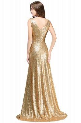 Elegante A-Linie Open Back Pailletten Sleeveless V-Ausschnitt Abendkleider_4