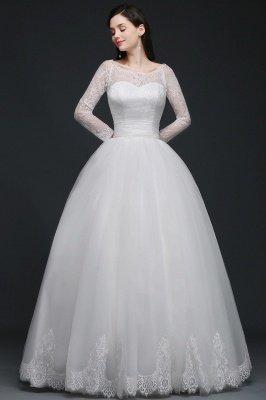 AZARIA | فستان زفاف الأميرة سكوب تول الأبيض مع الدانتيل_1
